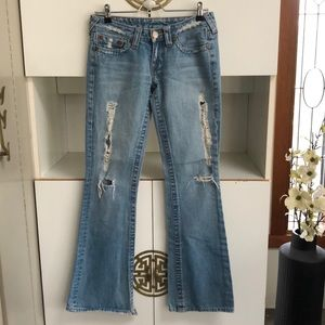 True Religion Ripped Distressed bootcut jeans 28